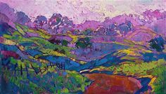 Purple and green California light, original oil painting by Erin Hanson