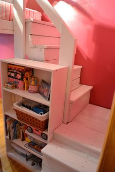 Loft bed steps. Stairs for the puppy to get into my daughters bed. Bookcase fit inside.