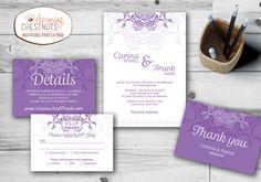 Ornate Purple Wedding Invitation Set, Printable wedding invitation, Personalized wedding invitation, Purple, Ornate