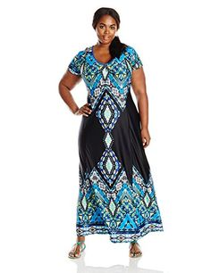 NY Collection Womens Plus-Size Cap Sleeve Printed Maxi Dress V-Neck