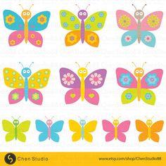 Butterfly vector  Digital Clipart  Instant por ChenStudio88 en Etsy