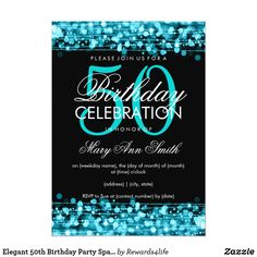 Shop Elegant Birthday Party Sparkles Turquoise Invitation created by Personalize it with photos & text or purchase as is! 50th Birthday Invitations, 50th Birthday Cards, Fifty Birthday, Birthday Woman, Elegant Invitations, Zazzle Invitations, Create Your Own Invitations, Sparkles, Turquoise