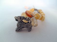 Orange and Yellow Glass Beads Bracelet with Bali Silver Dragon Charm - Cubes Round Beads -Citrine, Quartz, Glass, Nuggets, Metal -