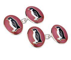 Pink Enamel Penguin Cufflinks from Deakin & Francis