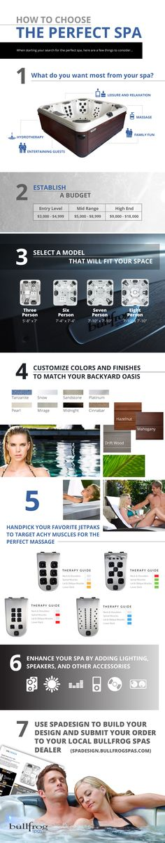 "Take the Quiz to Discover Your Perfect Spa One of the most common questions asked when shopping for a hot tub is ""How do I choose the perfect hot tub for me?"" This simple quiz and info graphic will help you select the perfect Bullfrog Spa for your life. - http://www.bullfrogspas.com/hot-tub-blog/how-to-choose-the-perfect-hot-tub/"