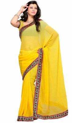 Adorable Yellow Color Georgette Bollywood Saree PR35134015. Sale : $60.00