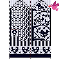 Valokuva Knitted Mittens Pattern, Fair Isle Knitting Patterns, Knitting Stiches, Knit Mittens, Knitting Charts, Knitting Socks, Wedding Cross Stitch Patterns, Cross Stitch Bird, Knitting Accessories