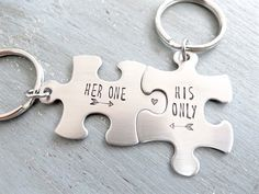 Super Cute Her One His Only - Matching Keychains. Couple's Puzzle Piece Keychains by BBeadazzled