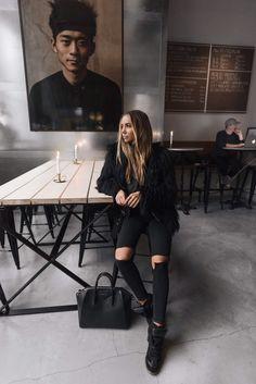 I'm wearing: Jeans, Topshop. Shoes, Isabel Marant. Top, Nelly. Faux fur, Chicy, Leather jacket, LXLS. Bag, Givenchy.  Hej på er! Hoppas att ni har en fin helg so far? Har varit väldigt trött och jetlag-seg hela dagen men kände att jag behövde få komma ut lite - i form av sen brunch på USI waysify