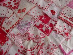 Vintage hankies.. I love these for Valentine's Day decorating! ❤