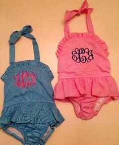 girls' monogrammed gingham swimsuits. Too presh! @Kaylyn Tanner Tanner Tanner Robinson