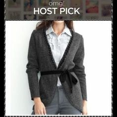 I just discovered this while shopping on Poshmark: HOST PICKBanana Republic ruffle tie cardigan. Check it out!  Size: M