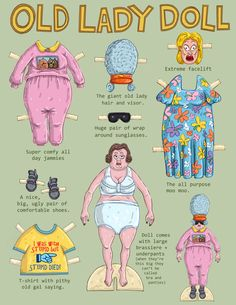 The original Old lady paper doll! Paper doll is printed on heavy 120 lbs card stock and clothes on an 80 lbs stock. It comes with all of the