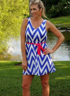 Everly: Chevron Dreams Dress, ink blue