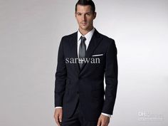 Wholesale cheap custom made men suit online, reference images - Find best custom made To measure dark blue pinstripe men suit, bespoke tailored men'S wedding tuxedos, groom tuxedo(Jacket+Pants+Tie+Pocket square) at discount prices from Chinese groom tuxedos supplier on DHgate.com.