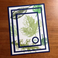 three tier leaves card, stampcandy.net, Stampin' Up!, Vintage Leaves stamp set, Tap Tap Tap stamp set, three tier stamping technique