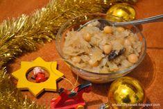 Smaczny kąsek: Kapusta z grochem i grzybami Oatmeal, Grains, Rice, Breakfast, Food, The Oatmeal, Morning Coffee, Rolled Oats, Eten