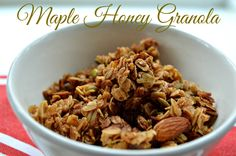 Maple Honey Granola- sweet and crunchy, seriously the best granola!  www.honeysuckleafternoons.com