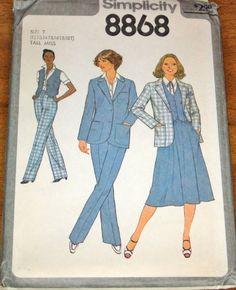 Vintage 1970s Simplicity 8868 Tall Womens Misses Separates, Blazer Jacket, Skirt, Vest, Pants, Size 12T 14T 16T 18T Bust 34 36 38 40, Uncut factory Folds, by RosesPatternsEtc