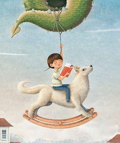 """Imagining / Imaginando (""""Lobos y dragones"""", Cartel de Óscar T.López para celebrar el """"Dia Cervantino de la Literatura Infantil y Juvenil -30 de mayo)"""