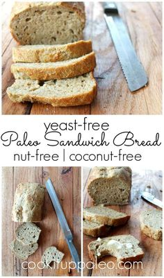 Amazing and easy to make paleo sandwich bread recipe. Nut-free, yeast-free, and coconut-free. This paleo sandwich bread makes delicious sandwiches! Paleo Sandwich Bread, Easy Keto Bread Recipe, Best Keto Bread, Paleo Recipes Easy, Almond Recipes, Real Food Recipes, Paleo Bread, Paleo Diet, Paleo Pizza