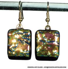 Dangling Earrings Dichroic Glass Gold Blue by coastalartglass