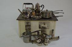 Märklin Puppenstube Herd/ Ofen mit Zubehör ~1920/40