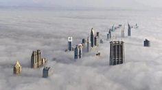 Dubai hidden in fog.