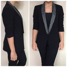 """Black Studded Boyfriend Blazer Preloved blazer still in great condition! Perfect for work for special occasion, studded lapel collar, one center front button and two front pockets. Length from top shoulder to bottom is approx 27"""", under armpit to armpit across chest is approx 17"""".❌NO TRADES OR PAYPAL❌ Romeo & Juliet Couture Jackets & Coats Blazers"""