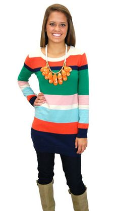 Love this sweater with the bold necklace. Its a great pop of color in the cold months. #shopbluedoor  Next in Line Sweater $42  www.shopbluedoor.com