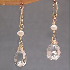 Earrings Ivory Freshwater Pearl Linked Gold Silver by Lexpulsity