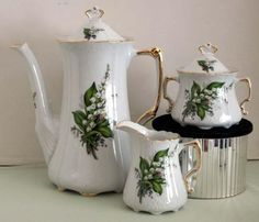 20 oz Porcelain Teapot with Cream and Sugar Set - Lily of the Valley - Roses And Teacups