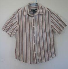 Boys Cherokee Short Sleeve Button Up Shirt Brown Striped XS 4/5 100% Cotton #Cherokee #DressyEveryday