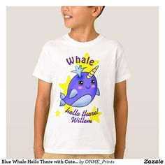 Blue Whale Hello There with Cute Yellow Stars T-Shirt #Onmeprints #Zazzle #Zazzlemade #Zazzlestore #Zazzlestyle #Blue #Whale #Hello #There #Cute #Yellow #Stars #T-Shirt Kid Closet, Blue Whale, Kawaii Cute, Cute Designs, Cute Kids, Kids Outfits, Yellow, Children Clothing, Mens Tops