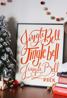 """No matter if you hum it, sing it, dance to it, or all of the above—the forever-fun """"Jingle Bell Rock"""" is a must-have for the holiday hostess, both on the playlist and in print. Christmas Room, Christmas Signs, Christmas 2019, Merry Christmas, Unique Christmas Decorations, Holiday Decorating, Lily And Val, Chalkboard Print, Winter Home Decor"""