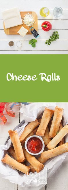 Cheese Rolls Recipe (LC14270): This recipe is made of bell pepper, herbs & cheese filling rolled in spring roll wrappers. A good item for children's parties.
