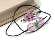 Book Thong Beaded Bookmark Pink Butterfly Book Cord by TJBdesigns