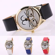 Simple in design, lovely in style, this analog quartz wrist watch features cute cat wearing big glasses, which will make you happy when see the cute rabbit. Note: 1. Features: Easy To Read, Cute Glasses Rabbit Case, Faux Leather Band, Dress Wrist Watch. | eBay!