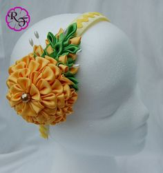 Kanzashi Flower Yellow Flower Headband por RainOfFlowers en Etsy