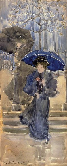 Ashcan School - Maurice Prendergast  1893-94 Ladies in the Rain pencil & watercolour 34.3 x 14.6 cm