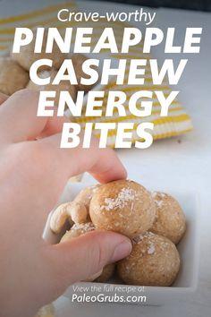 Paleo Energy Bites, Protein Bites, Healthy Baking, Paleo Food, Healthy Eats, Best Paleo Recipes, Diet Recipes, Donut Flavors, Healthy Travel Snacks