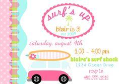 PRINTABLE PARTY INVITATION - Surfer Girl Birthday Beach Party Invite. $15.00, via Etsy.