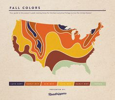 A map of the season's peak viewing times for fall leaf-peeping!