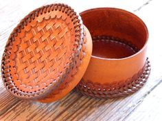 Tooled Leather Jewelry Box Brown Basketweave by WestTexasLeather, $50.00-SR