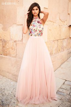 Sherri Hill - 51908 Floral Appliqued High Halter A-Line Dress Banquet dresses 2020 Sherri Hill Prom Dresses, Cute Prom Dresses, Grad Dresses, Pretty Dresses, Homecoming Dresses, Beautiful Dresses, Evening Dresses, Spring Formal Dresses, Flowy Dresses