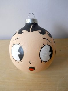 Betty Boop Hand Painted Holiday Christmas Ornament.
