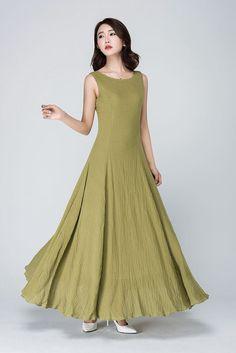 Senf-Kleid gelbe Leinenkleid gelbes Kleid bodenlangen von xiaolizi