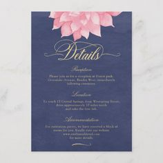 Navy Blue Blush Pink Wedding Information Card, Navy Blush Gold Wedding Details Card, Dahlia Wedding Information Card, Watercolor Floral Wedding Details Card, Pink Flower Wedding Details Reception Accommodation Card by Soumya's Invitations #wedding #bridal #bridetobe #weddinginspiration #weddinginvitation