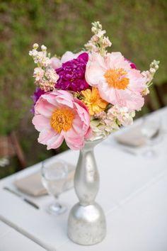 Pink peony centerpiece | A Pink Vintage Chic North Carolina Wedding via TheELD.com