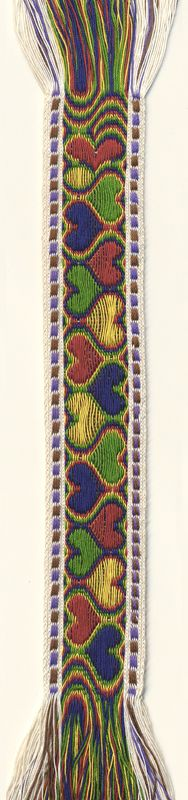 Colourful harts on a tablet woven band by Teatske Stouten